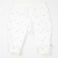 Idée cadeau de naissance pour ce joli petit pantalon  mixte aux motifs enfantins de chouettes en coton biologique.