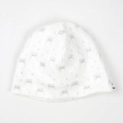 Idée cadeau de naissance pour ce bonnet  au motif enfantin de petites chouettes sur fond blanc en coton biologique.