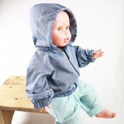 Veste à capuche pour bébé, mixte, ouverture fermeture éclair, tissu organique denim.
