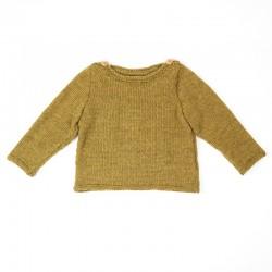 Pull bébé tricoté main couleur olive 12 mois