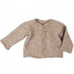 Cardigan bébé beige pure laine vierge tricotée main