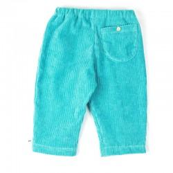 Pantalon bébé garçon, en velours côtes larges bleu vert, doux et confortable.