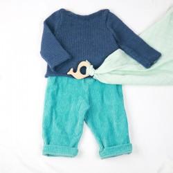 Pantalon bébé en velours bleu vert, modèle coupe droite, coton organique.