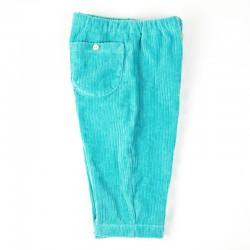 Pantalon bébé garçon, velours bleu vert création artisanale française, tissu bio.