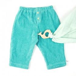 Velours bleu vert grosses côtes, très mode ce vêtement bébé garçon fabriqué en france.
