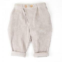 Velours côtelé beige très mode et biologique pour ce pantalon bébé original.