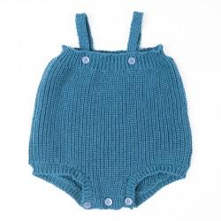 Barboteuse côtes perlées fille ou garçon tricot main biologique.