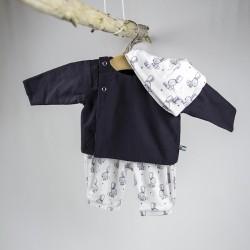 Blouse création couture pour bébé en tissu certifié  bio de fabrication artisanale et soignée