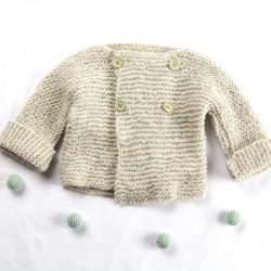 gilet naissance croisé boutons bois laine bio