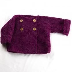 veste fille boutons bois et laine bio