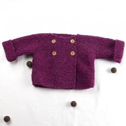 veste façon pull tube en laine tricotée main pour bébé fille
