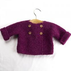 petite veste toute chaude boutonnage croisé en laine biologique
