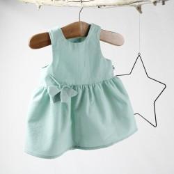 Robe bébé bleu menthe présentation sur portant