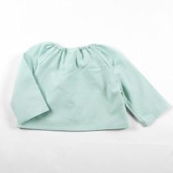 Blouse de dos, un cadeau de naissance original en tissu chambray écolo, pratique et naturel!