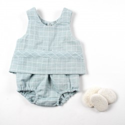 Ensemble bébé Idée cadeau de naissance en lange à carreaux façon layette nature