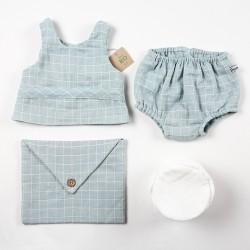 Bloomer et haut assortis avec accessoires, une création couture bambio pour bébé en tissu français de fabrication artisanale