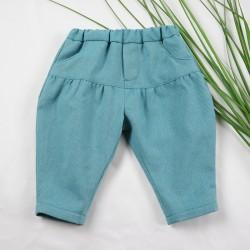 Pantalon création couture pour bébé en tissu certifié bio de fabrication artisanale et soignée