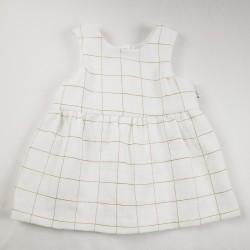 Idée cadeau de naissance pour cette robe lange carreaux or stylé oeko-tex et bio