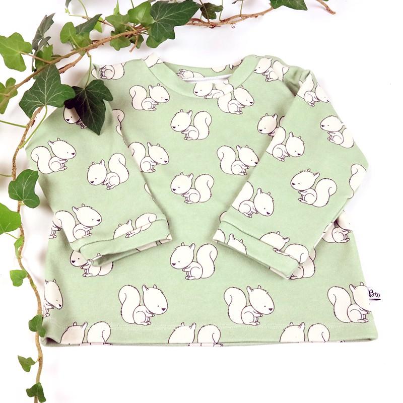 Idée cadeau de naissance pour ce tee-shirt bébé écureuils en coton bio