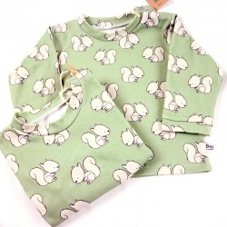 Haut bébé création couture inspiré de la forêt en tissu certifié bio de fabrication artisanale et soignée