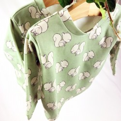 tissu biologique pour ce tee-shirt bébé motif écureuils fabriqué en France