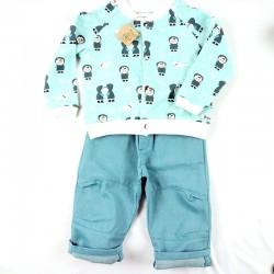 Assemblage pour tenue bébé tons bleu-vert
