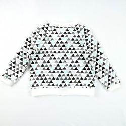 Le gilet aux triangles vu de dos pour fille ou garçon, création française