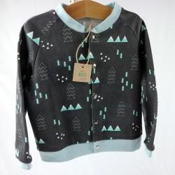 Création originale pour cette veste mixte noire et bleue en coton bio spécial bébé