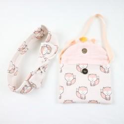 Petit sac à main spécial bébé fille avec le petit bandeau et la robe en coton biologique fabrication française.