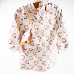 Idée cadeau de naissance, la robe et ses accessoires en coton bio fabrication française.