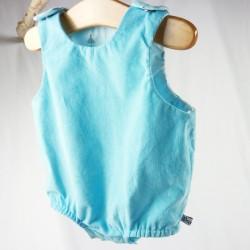 Barboteuse bleue en coton biologique pour bébé création Bambio.