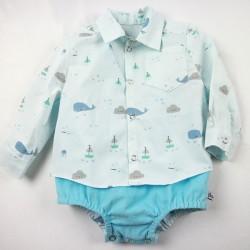 Ensemble cadeau de naissance 6 mois en coton biologique thème de la mer, cousu main.