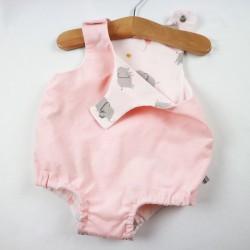 Barboteuse bébé fille en velours de coton rose entièrement doublée, tissus naturels et bio.