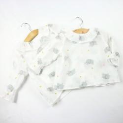 Vêtements de marque Bambio, chemisettes fille à collerette froncée fabrication artisanale.