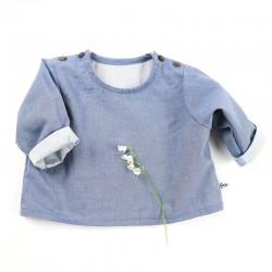 Petite blouse jean mixte, chic et écolo pour un bébé mode.