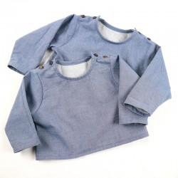 Création originale pour cette blouse mixte jean bio spécial bébé.