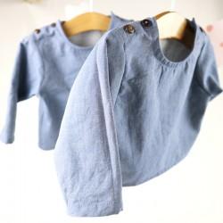 Tunique bébé création couture  en tissu certifié GOTS de fabrication artisanale et soignée.