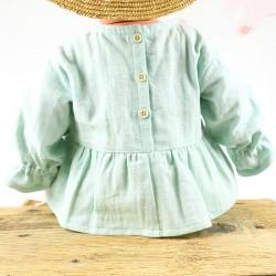 Petite blouse lange coton bio, chic et écolo pour un bébé mode.