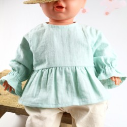 Un cadeau de naissance unique la blouse 100% coton lange menthe bio, la mode au naturel!