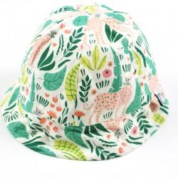 Chapeau de soleil bébé tissu bio collection jungle fabrication française.