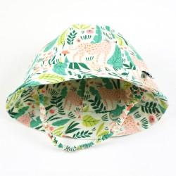Chapeau de soleil bébé tissu bio motif végétal créateur Bambio.
