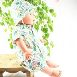 Ensemble bébé chapeau chemise et short, une idée cadeau naissance unique et bio.