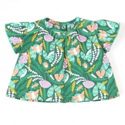 Création originale Bambio pour cette blouse fille forêt en coton bio spécial bébé.