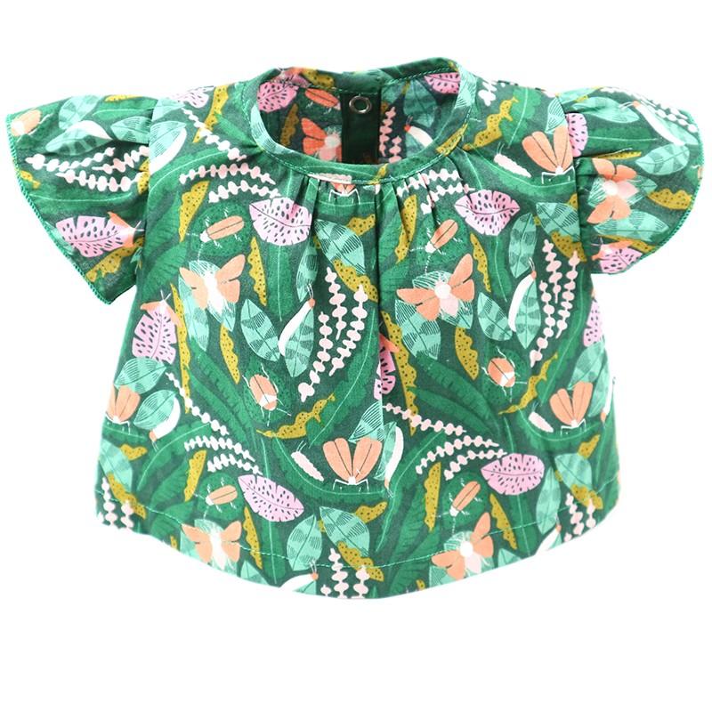Tissu biologique GOTS pour  cette blouse forêt façon artisanale.