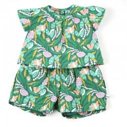 Tunique bébé création couture  en coton thème forêt certifié GOTS de fabrication artisanale et soignée.