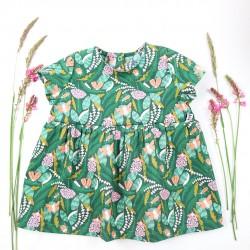Robe bébé création couture  en tissu certifié GOTS de fabrication artisanale française.