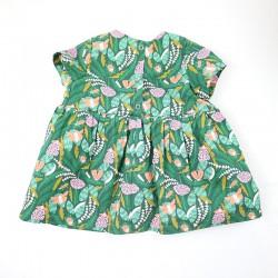 Robe forêt, joli vêtement bébé fille en tissu biologique de fabrication artisanale