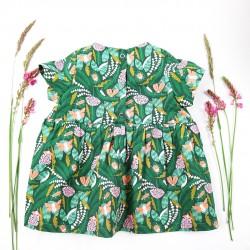 Originale petite robe colorée tissu bio thème forêt magique.
