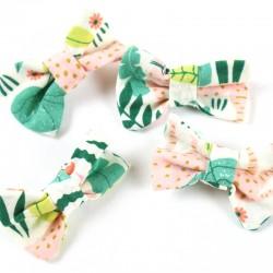 Barrette à cheveux bébé, thème Jungle, une création artisanale française en coton biologique.