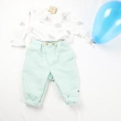 Tenue bébé collection été en lange de coton biologique avec blouse et pantalon taille 6 mois.